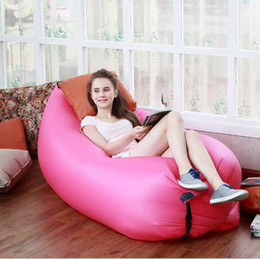 Wholesale Inflatable Sofas - Fast Inflatable Air Sleeping Bag Waterproof Lazy Sofa Bed Festival Camping Hiking Travel facility Beach Bag Bed Camping Banana Couch