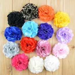 "Wholesale Satin Mesh Flowers Diy - 2016 wholesale 8cm 3"" fabric flowers for headband satin mesh rose flowers DIY flowers baby girls hair accessories"