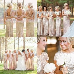 Wholesale Cheap Sparkly Wedding Dresses - Sparkly Rose Gold Cheap 2017 Mermaid Bridesmaid Dresses 2016 Short Sleeve Sequins Backless Long Beach Wedding Party Gowns Gold Champagne