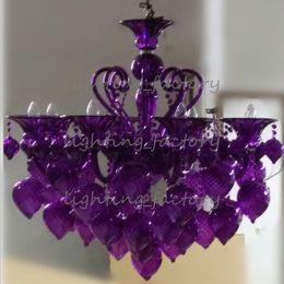 """Wholesale E14 Red - Bella Vetro 8-Lights 36"""" Aqua Blown Glass Chianti Chandelier, Blue,Purple,Red,Black"""