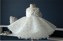 Asil beyaz şifon vaftiz vaftiz elbise, Yeni doğan bebek kız büyük yay prenses Tutu doğum günü elbiseler için düğün nereden