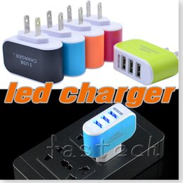 Wholesale Galaxy S3 Led - 5 Colors EU US Plug 3 USB Port LED Wall Home Travel AC Charger Adapter For iPhone 5s 6 6lus for Galaxy S3 S4 Note 3 N9000 android phone