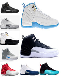 Wholesale Nylon Elastic Lace - WITH BOX 2016 air retro 12 men XII Wool Black Grey Black Nylon ovo white Flu Game GS Barons the master taxi playoffs Shoes Sneaker