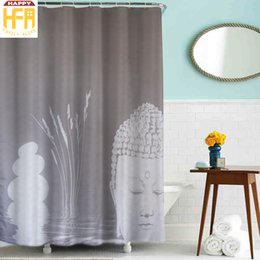 Wholesale Reed Wholesale - Bathroom Shower Curtains Bath Curtain Water Reed Buddha Pattern Polyester Shower Curtains Waterproof Mildew Proof Bath Curtain