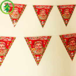 Wholesale Thin Paper - New 25*23cm Printed Christmas String Flag Supplies Christmas Ornaments Santa Claus Flag Paper Triangle Flag