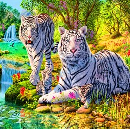 Wholesale Painting Tigers - 2016 diy diamond painting cross stitch animal tiger crystal full round drill set unfinished diamond mosaic Room free shipping61