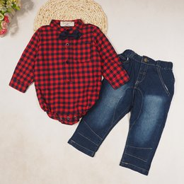 Wholesale Romper Jeans Baby - 2016 Boys Baby Clothing Sets Plaid Gentleman Baby Rompers Jeans 2 Set Jumper Toddler Long Sleeve Romper Spring Autumn Infant outfits