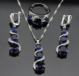 Wholesale Necklace Earring Sets White Black - 2016 Hot new Blue Sapphire Jewelry Sets For Women 925 Sterling Silver Necklace Pendant Earrings Rings Size 6 7 8 9 Free Jewelry Box