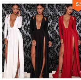 Wholesale Double Maxi Long Dress - New products New 2016 Woman Deep V neck Evening Dresses Women Sexy Club Dresses High Slit Maxi Dress Double Split Long Party Dresses New2016