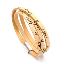 Wholesale Couple Bracelet Male Female - Embossing lettering Lucky multilayer leather bracelets Lucky magnet buckle bracelet Students male and female couple hand jewelry