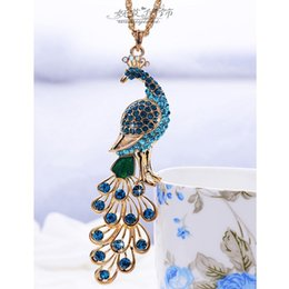 Wholesale Peacock Diamond Necklace - Luxury Jewelry Peacock Pendant Vintage Sweater Chain Necklaces Vintage Blue Peacock Necklace With Crystal Diamond free shipping