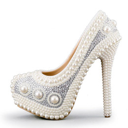 Wholesale Platform Shoes Performance - Luxurious Pearl Wedding Shoes White Formal Dress Shoes Marriage Bride Shoes High Heel Platform Performance Shoes Prom Pumps