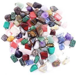 Wholesale Gemstone Charms Pendants For Necklace - Lots Jewelry Natural Gemstone Stone Turquoise Crystal Pendants Loose Beads Fit DIY Bracelets and Necklace Charms For Women men Kids