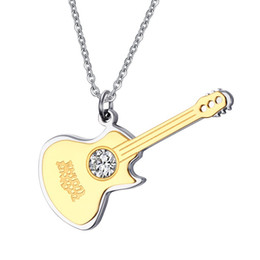Wholesale Engraved Guitars - Custom Engraved 48mm Large Crystal Guitar Pendants in Stainless Steel Music Jewelry Friendship Gifts - Gold, Black