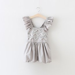Wholesale Shabby Lace - Shabby Chic Baby Clothes ,Grey Lace Flutter Sleeve Baby Girls Romper ,Summer baby lace romper ,Toddler playsuit ,Western Girls outfit