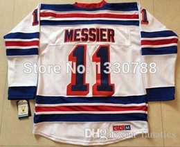 Wholesale Vintage Road - Cheap New York Rangers Jersey #11 Mark Messier White Road Stitched Mens Throwback Vintage Ice Hockey Jerseys NY Rangers