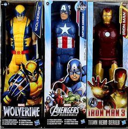 2019 juguetes de enredo 30 cm Marvel Super Heros Los Vengadores Thor Iron Man Hombre Araña Capitán American Wolverine PVC Figura de Acción de Juguete Modelo Con Caja