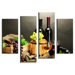 Wholesale fruit canvas art - Amosi Art-4 Pieces Wall Art Painting Fruit And Red Wine Beside candlestick Pictures Prints Canvas For Home Modern Decoration( Wooden Framed)
