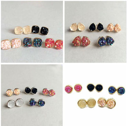 Wholesale Drusy Stud Earrings - Hot 4 Styles Druzy Drusy Stud Earrings 5 Colors Rock Lava Crystal geometry Stone Earrings Jewelry for women Girl brithday christmas Gift