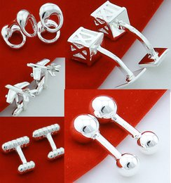 Wholesale Tie Set Price - Wholesale price ! 5pairs a lot Good silver Fashion Jewelrys Round cool men's Design silver Cufflinks C12 CHRISMAS GIFT