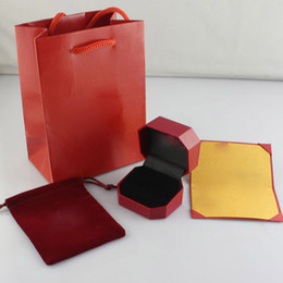 Wholesale Paper Craft Bags - Famous brand ring box with original bags and card jewelry gift box free shipping PS4431