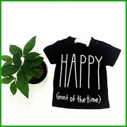Wholesale Cheap Baby Clothes Long Sleeve - Happy letters printed black short sleeve o-neck tops baby boys girls clothing set cat print long pants casual style high quality cheap price