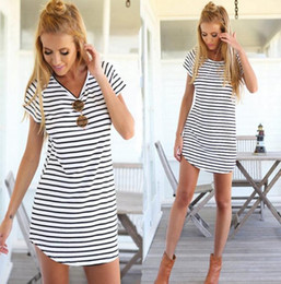 Wholesale Low Priced Maxi Dresses - European Stripe Haihun T Shirt Skirt Low The Price Run Amount Casual Chiffon Maxi Beach Dress For Women 2016 Bodycon Adult Dresses