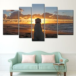 Wholesale Canvas Dog Art - 5 Panel Wall Art Painting Dog Watch In Sunset Pictures Prints On Canvas Animal The Picture For Lving Room Decor Decoration Gift
