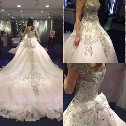 Wholesale Short Rhinestone V Neck - New Design Luxury Crystal Rhinestone Short Sleeve Wedding Dresses 2017 Charming Beading Lace-up Chapel Train Real Wedding Bridal Gowns