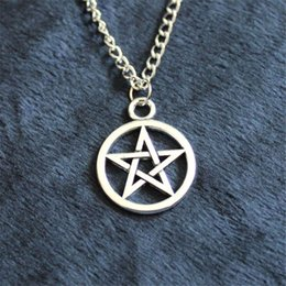 Wholesale Pentagram Metal - New Fashion alloy statement Pendant Necklace Pentacle brandy Supernature movie collection metal Unisex Pentagram colares femininos jewelry