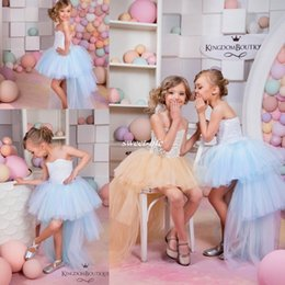 Wholesale Summer Flower Dresses Children Beach - Cute High Low Flower Girl Dresses for Summer Boho Beach Wedding Champagne Tulle Vintage Lace Baby Child Party First Communion Dresses 2016