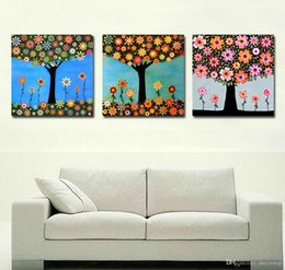 Wholesale Flowering Trees Pictures - Modern Fine Flower Tree Painting Giclee Print On Canvas Wall Art Home Decoration Set30160