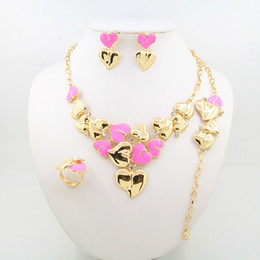 Wholesale Red Sea Lighting - 2016 new heart-shaped jewelry set including necklaces bracelets rings earrings four exquisite alloy suit for pink sea blue red and pur