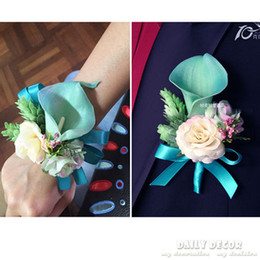 Wholesale Bouquet Boutonniere - New ! blue calla lily wedding flowers( bride wrist   hand flower + groom corsage  boutonniere) for wedding party or photographic
