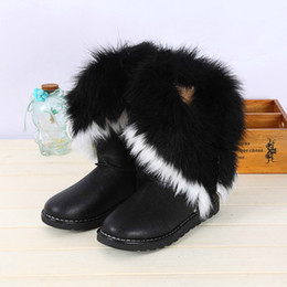 Wholesale Ladies Heeled Waterproof Leather Boots - 2016 New Winter Ladies Waterproof Leather Boots Rabbit Hair Fox Fur Ladies Short Boots Leatherette Middle Cylinder Large Hairy Fringed Boots