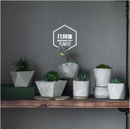 Wholesale Planter Set - Full Set (6pcs) Cement Flowerpot Succulent Planter Solid Geometry Style Concrete Floweplanter For Home & Garden