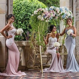 Wholesale Sequin Straps Pleated Bridesmaid Dresses - Blush Cheap Mermaid Bridesmaid Dresses 2016 Spaghetti Straps Sweetheart Sexy Back Satin Bridesmaid Gowns Prom Party Dress