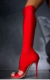 2019 mujeres del sexo botas negras calcetines sexuales botas de mujer sandalias de corte delgado talón largo botas delgadas mujeres sobre rodilla botas moda primavera otoño rojo negro azul tela elástica mujeres del sexo botas negras baratos
