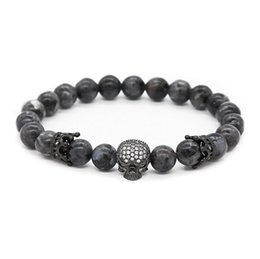 Wholesale Beads Agate - Gun Black Crown Spacer Cubic Zirconia Spartan Skull Bracelets for Men 8mm Stone Beads, 7.5""