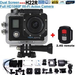 Wholesale Microsd Sale - Hot Sale Add 2.4G Remote H22R 4K Wifi Action Camera 2 Inch 170D Lens Dual Screen 30M Waterproof Extreme Sports Camera HD DVR Camera