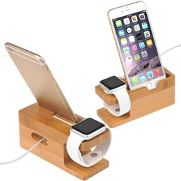 Wholesale Iphone 4s Charging Dock - Wholesale-Bamboo Original Stand Charging Dock Station Bracket Accessories IPhone 4 4s 5 5s 5c 6 6plus and Watch