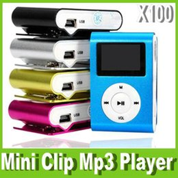 Wholesale Portable Sd Reader - New LCD Screen Metal Mini Clip MP3 Player with Micro TF SD Slot Portable MP3 Music Players with Earphone USB Cable Retail box OM-CI2