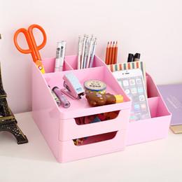 Wholesale Cabinet Desk Organizers - pen holder deli 8900 desktop stationery box drawer cabinets Desk Accessories Organizer desktop box makeup box pen holder