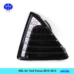 Wholesale Daytime Running Led Ford Focus - Gloss Model 12v LED Car DRL daytime running light Bumper Front Fog lamp with dimming style Relay for Ford Focus 2012 2013