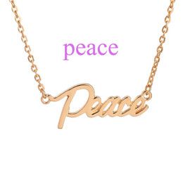 Wholesale Letter Initials Word Pendant - Peace The Letter Pendant Necklace Silver Gold Plated Blessed Joy Dream Hope Lucky Word Choker Necklace Women Sister Gifts Jewelry