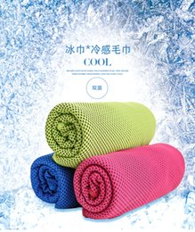 Wholesale Towels Packaging - DHL 30*100cm Cold Towel Summer Sports Ice Cooling Towel Double Hypothermia cool Towel for sports children Adult cooled towel Gift package