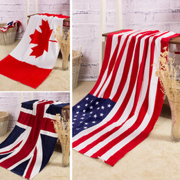 Wholesale White Washcloths - 100% cotton beach towel drying washcloth swimwear shower towels USA UK Canada flag dollar design bath towel free shipping