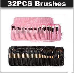 Wholesale Makeup Brushes 32pcs Pink - Newest 32pcs Professional Wood   pink Makeup Brushes Set Cosmetic Makeup Brush Set Roll Up Case Eyeliner Eyeshadow Brush Makeup Tools DHL