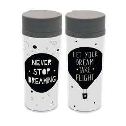 Wholesale Personalized Kids Cups - Plastic Insulated Minimalist Dream Quotes Kids Cute Water Bottles 300ml Gift BPA Free Personalized Modern Nordic Black White Cup
