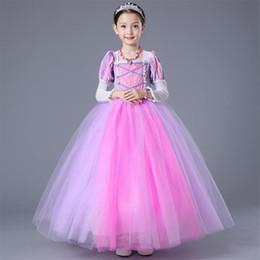 rapunzel tutu kostüm Rabatt Hochwertige Mädchen Rapunzel Wirren Prinzessin Kleider Langarm Schichten Rand Kinder Halloween Weihnachten Kostüm Kleidung HH7-216